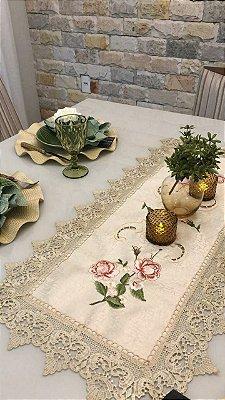 Caminho de mesa Bordado Gold Rose- Liance - Dourado - 40x90 cm
