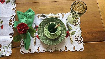 Jogo Americano Bordado flores Papoula-  Liance - 30x 40cm