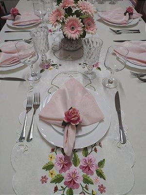 Corredor de mesa importado - tamanho 1,75 x 40 cm - branco bordado