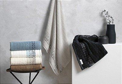 Toalhas de Banho e Rosto Barcelos Karsten - Cor Branco/Azul - Tam Banho 70cm x 1,40m e Rosto 48cm x 80cm - Gramatura 500g/m2