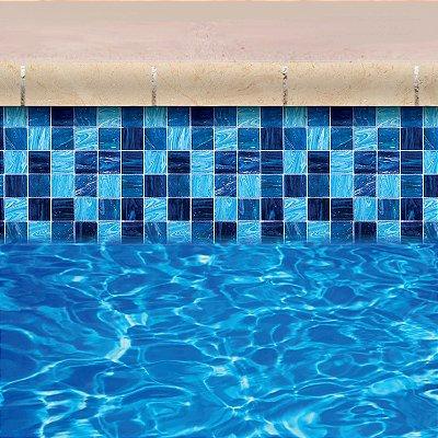 Faixa Adesiva de Piscina 2m x 20cm Design Ladrilho Azul