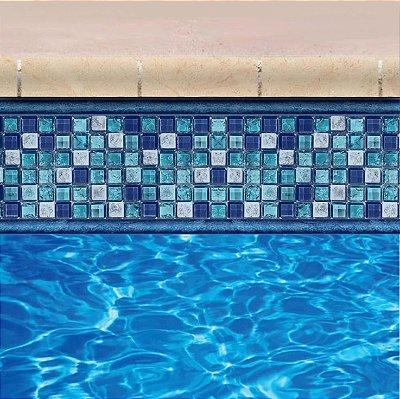 Faixa Adesiva de Piscina 2m x 20cm Design Ladrilho Vidro Azul