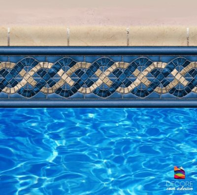 Faixa Adesiva de Piscina 2m x 20cm Design Ocean Reef