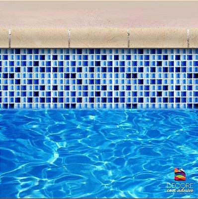 Faixa Adesiva de Piscina 2m x 20cm Ladrilho Mix Azul