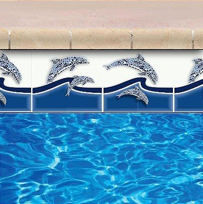 Faixa Adesiva de Piscina 2m x 20cm Design Golfinhos