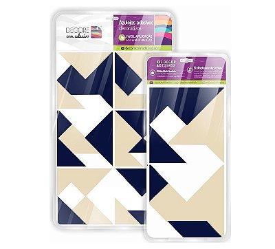 Adesivo de Azulejo Geométrico Triangular Bege e Marfin