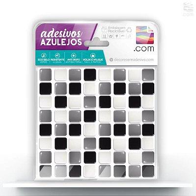 Adesivo de Azulejo Ladrilho Mix Preto Branco Cinza