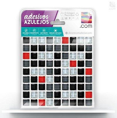 Adesivo de Azulejo Mix Preto e Vermelho
