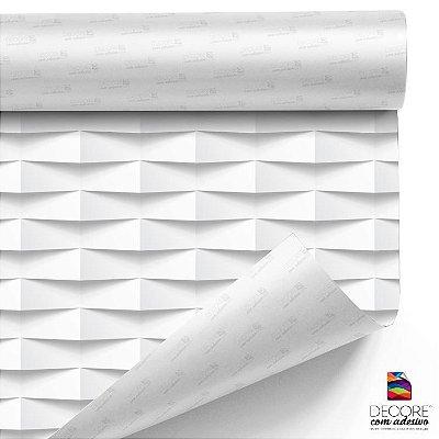 Papel de Parede Canjica Branca Efeito 3D Geométrico