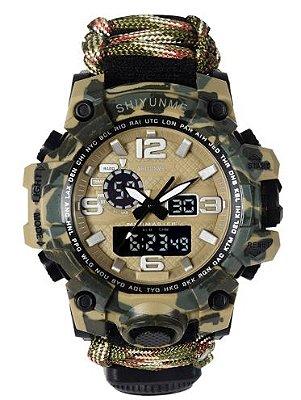 Relógio Militar Tático de Sobrevivência Camuflado
