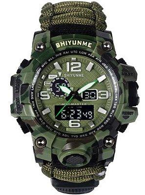 Relógio Militar Tático de Sobrevivência Camuflado Verde