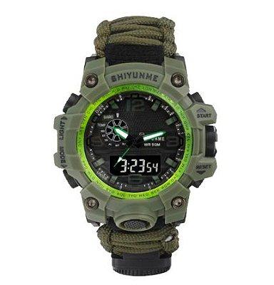 Relógio Tático Militar Sobrevivência Verde