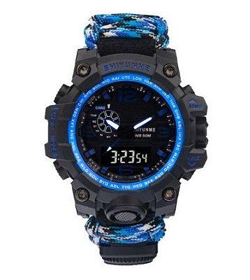 Relógio Tático Militar Paracord Sobrevivência Azul
