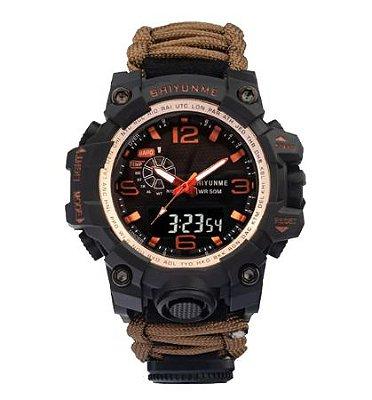 Relógio Tático Militar Paracord Sobrevivência Laranja