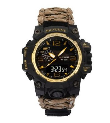 Relógio Tático Militar Paracord Sobrevivência Dourado
