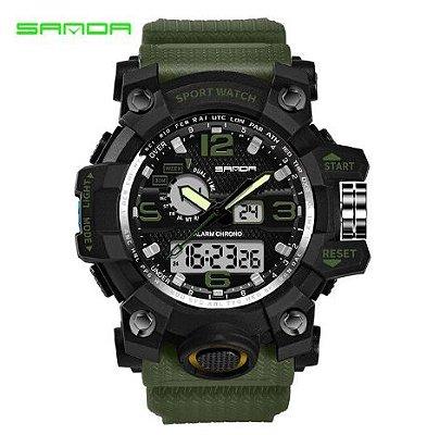 Relógio Militar Masculino Sanda 742 Verde