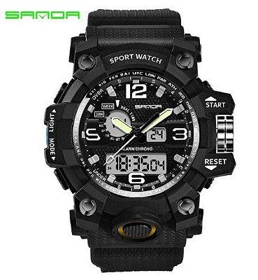 Relógio Militar Masculino Sanda 742 Preto