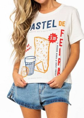 Camiseta Malha Farm Tshirt Fit Silk Pastel de Feira - 297542