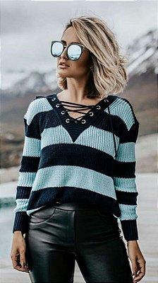 Blusinha Tricot Moda blogueira Listrado Cordão Ilhós Em V