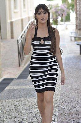 Vestido De Tricot  Listrado Alça Fina Detalhe De Gota Na Gola