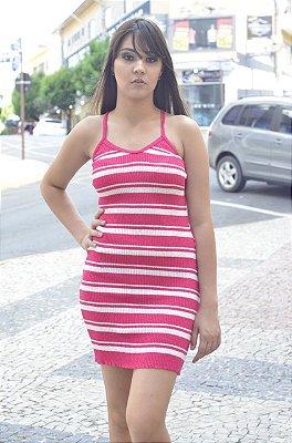 Vestido De Tricot Croche  Listrado De Alça Moda Feminina