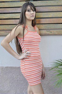 Vestido De Tricot Listrado De Alça Lacinho Moda Feminina