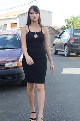 Vestido De Tricot Liso Alça Fina Detalhe De Gota Atacado