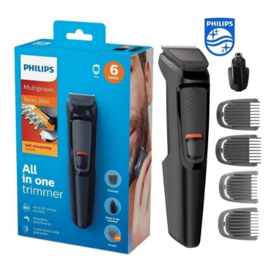 Aparador de Pelos e Barba Philips Multigroom 6 em 1 MG3712 - com 4 pentes + Trimmer + Base