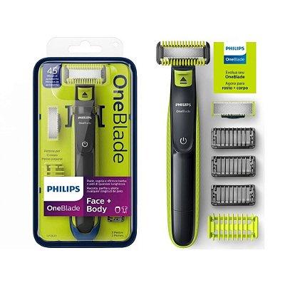 Barbeador Elétrico Philips OneBlade QP2620/10 - Rosto e Corpo - Seco ou Molhado - com 5 Pentes + 2 Lâminas