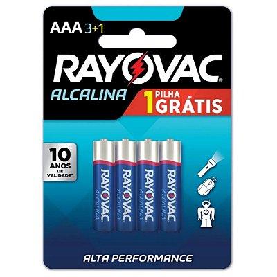 Pilha AAA Palito Alcalina Rayovac - Cartela com 4 Unidades - 20324