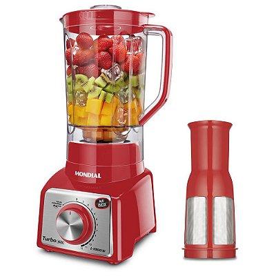Liquidificador Mondial L-1000 RI Turbo Premium - Copo 3L - Com Filtro - 12 Velocidades - 1000W - Vermelho e Inox