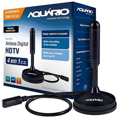 ANTENA DIGITAL HDTV 5  EM 1 VHF/UHF/FM/HDTV/4K USO INTERNO OU EXTERNO COM CABO 5 METROS DTV-150