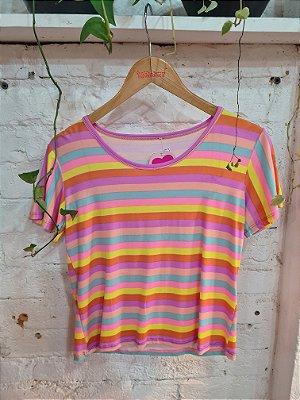 T-shirt listras lilás