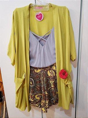 Short saia cashmere amarelo