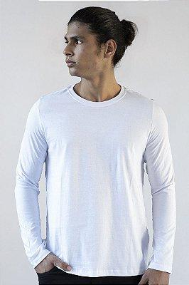 Camiseta Basica Masculina Manga Longa Versatti Branca Amazonas A20