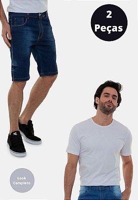 Kit Camiseta Lisa Branca e Bermuda Versatti Chile A20