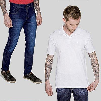 Kit 2 peças Camisa Polo Branca e Calça Jeans Filandia A20