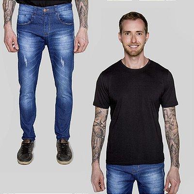 Kit 2 peças Camiseta Preta e Calça Jeans Mendonça A20