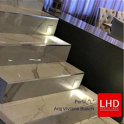 Perfil Inox L  para acabamento de porcelanato e azulejo