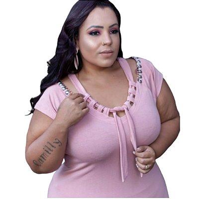 Blusa Plus Size Detalhe Nozinho Decote