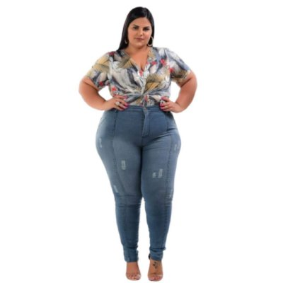 Calça Jeans Plus Size Costura Vertical
