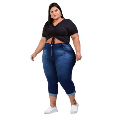 Calça Jeans Capri Plus Size