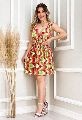 Vestido Elastex Curto Regata Decote V Xadrex Colorido Ref. C3