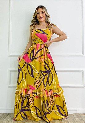 Vestido Longo de Alça Estampado Dourado Ref. L11E