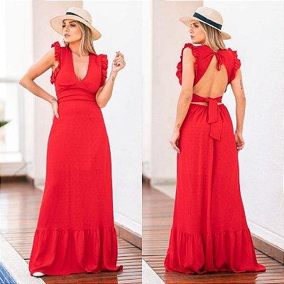 Vestido Longo Viscolinho Pipoca Vermelho Ref. L51