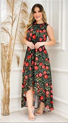 Vestido Mullet Sereia Decote nas Costas Estampado Preto Floral Ref. M1