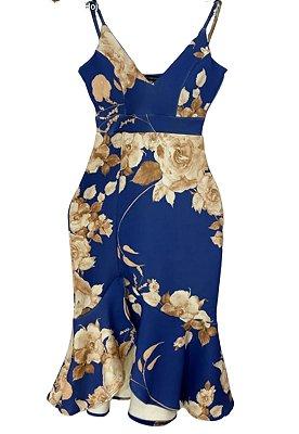 Vestido Midi Sereia de Alça Estampa Floral Azul Ref. 21E