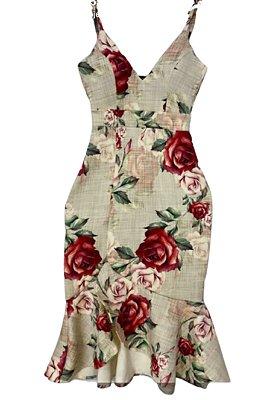 Vestido Midi Sereia de Alça Floral Rosas Vermelhas Ref. 21E