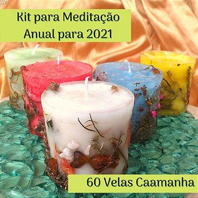 10% OFF - Kit Anual para Meditação - Jornada da Lua  - com 60 Velas Caamanha