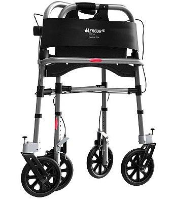 Andador de Alumínio com 4 Rodas e Assento - Mercur